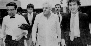 Then Puerto Rico Governor Carlos Romero Barcelo (center) with PRSSA Founding President Kenneth McClintock